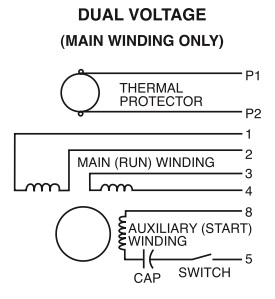 Dual Voltage (main winding only)