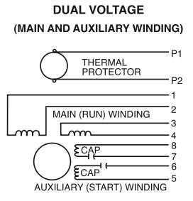 Dual Voltage (main & aux winding)